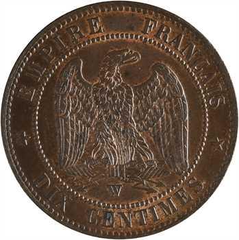 Second Empire, dix centimes tête nue, 1856 Lille