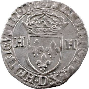 Henri III, douzain aux 2 H 1er type, 1577 Lyon