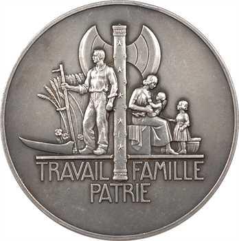 IIe Guerre Mondiale, le Maréchal Pétain, par Pierre Turin, moyen module en argent, 1941 Paris