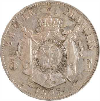Second Empire, 5 francs tête nue, 1855 Strasbourg