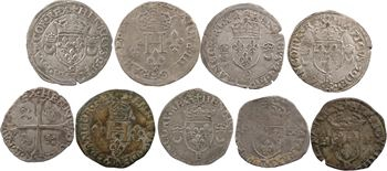 Lot de 9 monnaies royales comprenant 1 gros de 3 blancs d'Henri II et 4 douzains aux croissants (1549 B, 1550 E, P et 9), un double sol parisis d'Henri III pour Riom, et 3 douzains d'Henri IV 1594 D et X et 1590 Saint-Palais pour la Navarre (TTB)