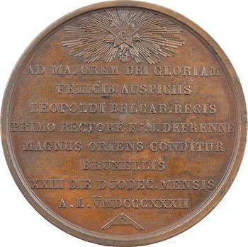Belgique, Orient de Bruxelles, médaille maçonnique, 1832