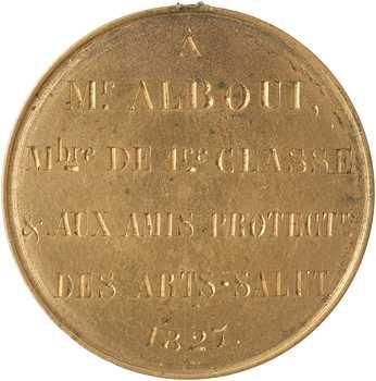 Société académique d'écriture de Paris, jeton d'écrivain, M. ALBOUI, 1827 Paris