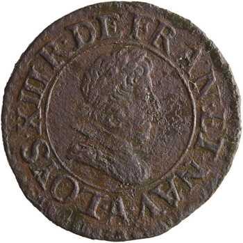 Louis XIII, denier tournois 3e type, frappe incuse inédite, 1631/1628 ? Paris