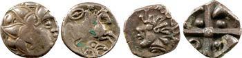 lot de 4 ex. : Pictons et Volques, drachmes, Anglo-Saxons, 1/4 statère, Ambiens