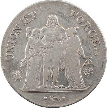 Consulat, 5 francs Union et Force, An 9 Bayonne