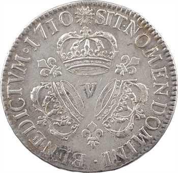 Louis XIV, écu aux trois couronnes, 1710 Troyes