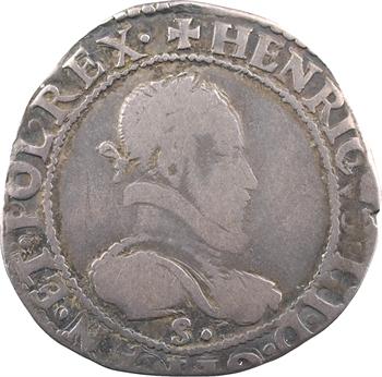 Henri III, demi-franc au col plat, 1576 Troyes