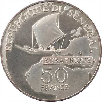 Sénégal, 50 francs, 25e anniversaire Eurafrique, 1975 Paris PROOF