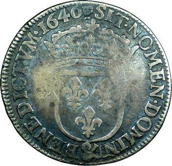 Louis XIV, quart d'écu à la mèche longue, 1646 Aix