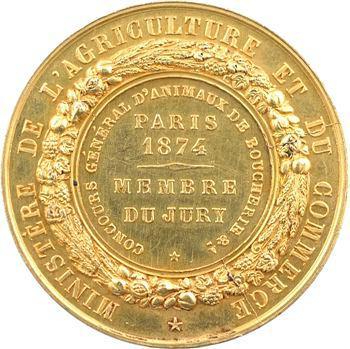 IIIe République, médaille en or, concours d'animaux de boucherie à Paris (membre du jury), 1874 Paris