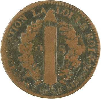 Constitution, 2 sols FRANÇAIS, An 5, 1793 Strasbourg