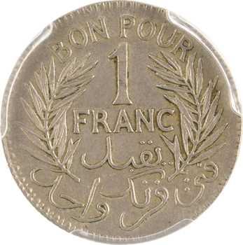 Tunisie (Protectorat français), Mohamed Lamine, épreuve de 1 franc en cupro-nickel, 1941 Paris, PCGS SP58