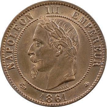 Second Empire, dix centimes tête laurée, 1861 Paris