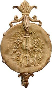 Jean II, hyperpyron monté en broche, Constantinople, 1118-1143