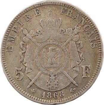Guerre de 1870, Napoléon III, 5 francs tête laurée SEDAN, 1870 [sur 1868 Strasbourg]