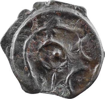 Grande-Bretagne, Cantiens (Kent), potin à la tête à droite et au taureau stylisés, Ier s. av. J.-C