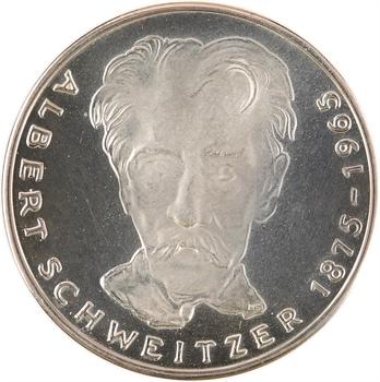Allemagne, 5 Mark, 100e anniversaire de la naissance d'Albert Schweitzer, 1975 Karlsruhe