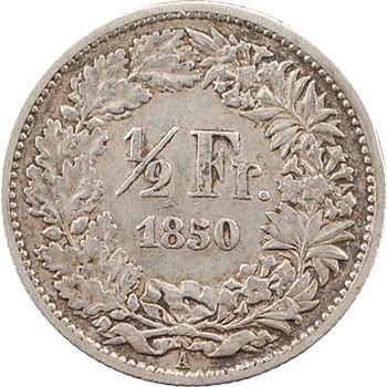 Suisse, Confédération helvétique, 1/2 franc, 1850 Paris