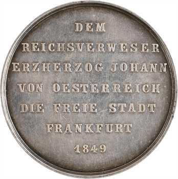 Allemagne, la ville de Francfort à l'archiduc Jean-Baptiste d'Autriche, par Zollmann, 1849