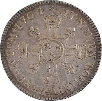 Louis XIV, écu aux huit L, 2e type, 1704 Metz