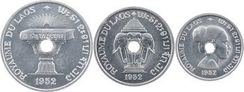 Laos (royaume du), coffret de trois essais de 10, 20 et 50 cents, 1952 Paris