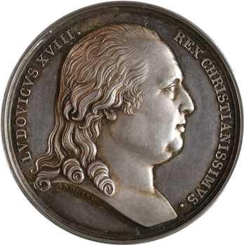 Louis XVIII, mariage du duc de Berry et Marie-Caroline de Naples, détournée en médaille de mariage, 1816 (1824) Paris
