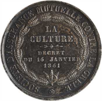 Second Empire, la Culture, société d'assurance mutuelle contre la grêle, par Oudiné, 1861 Paris