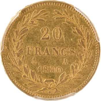 Louis-Philippe Ier, 20 francs Tiolier, tranche en relief, 1830 Paris, PCGS AU50