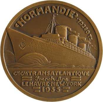 Compagnie Générale Transatlantique, le paquebot Normandie, par Vernon, dans sa boîte, 1935 Paris