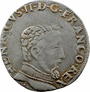 Charles IX, teston au nom d'Henri II, à la tête nue 5e type, 1561 Toulouse