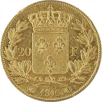 Louis XVIII, 20 francs buste nu, 1816 Perpignan