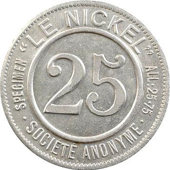Nouvelle-Calédonie, Société le Nickel, 25 centimes, 1881