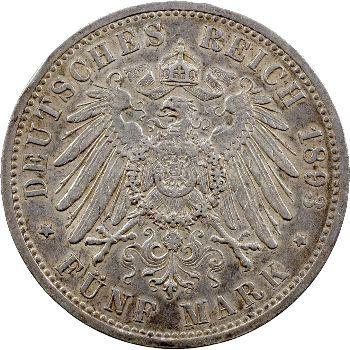 Allemagne, Prusse (royaume de), Guillaume II, 5 mark, 1893 Berlin