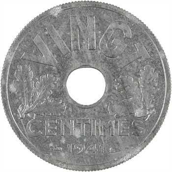 État français, vingt centimes zinc, 1941 Paris