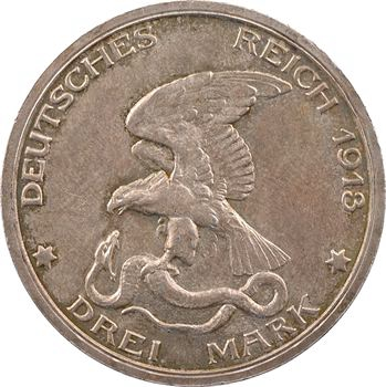 Allemagne, Prusse (royaume de), Guillaume II, 3 mark d'hommage, 1913 Berlin