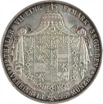 Allemagne, Prusse (royaume de), Frédéric-Guillaume IV, double thaler, 1855 Berlin