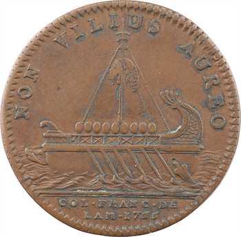 Amérique, Canada, Louis XV, jeton au vaisseau des Argonautes, par F. Marteau, 1755 Paris