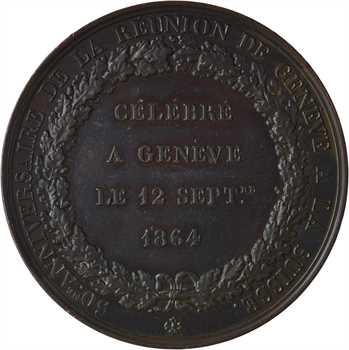 Suisse, 50e anniversaire du rattachement de Genève à la Suisse, par Bovy, 1864