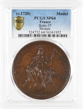 Louis XV, médaille du régiment de la Calotte ou satirique sur John LAW, c.1723, PCGS SP64