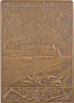 Roty (L.-O.) : Mines de Lens, plaque, dans sa boîte, 1899 (1908) Paris