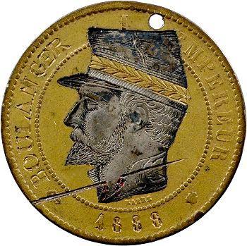 Guerre de 1870, Napoléon III, monnaie satirique de 10 centimes général Boulanger