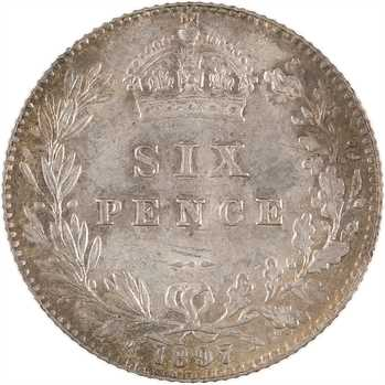 Royaume-Uni, Victoria, six pence, 1897 Londres
