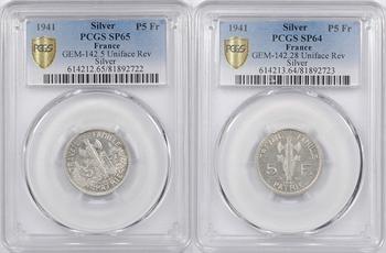 État Français, paire d'essais unifaces de 5 francs Pétain types I et II en argent, 1941 Paris, PCGS SP65 et SP64