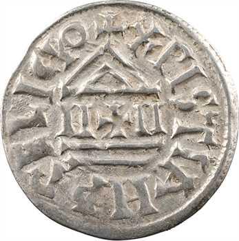 Louis le Pieux, denier au temple, croix cantonnée de quatre losanges ou diamants, s.d. Melle