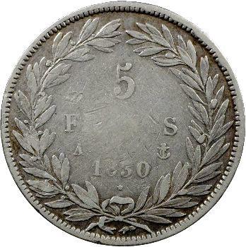 Louis-Philippe Ier, 5 francs Tiolier sans le I, tranche en creux, 1830 Paris