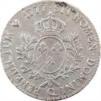 Louis XVI, écu aux branches d'olivier, 1777 Perpignan