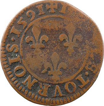 Henri IV, double tournois 2e type (NAVARRE), 1591 Châlons-en-Champagne