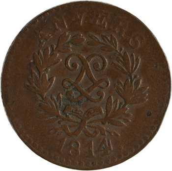 Louis XVIII, siège d'Anvers, 5 centimes, 1814 Anvers