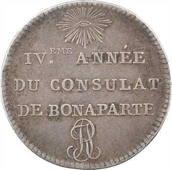 Consulat, essai d'outillage au module de 1 franc, IVe année (1802) Paris